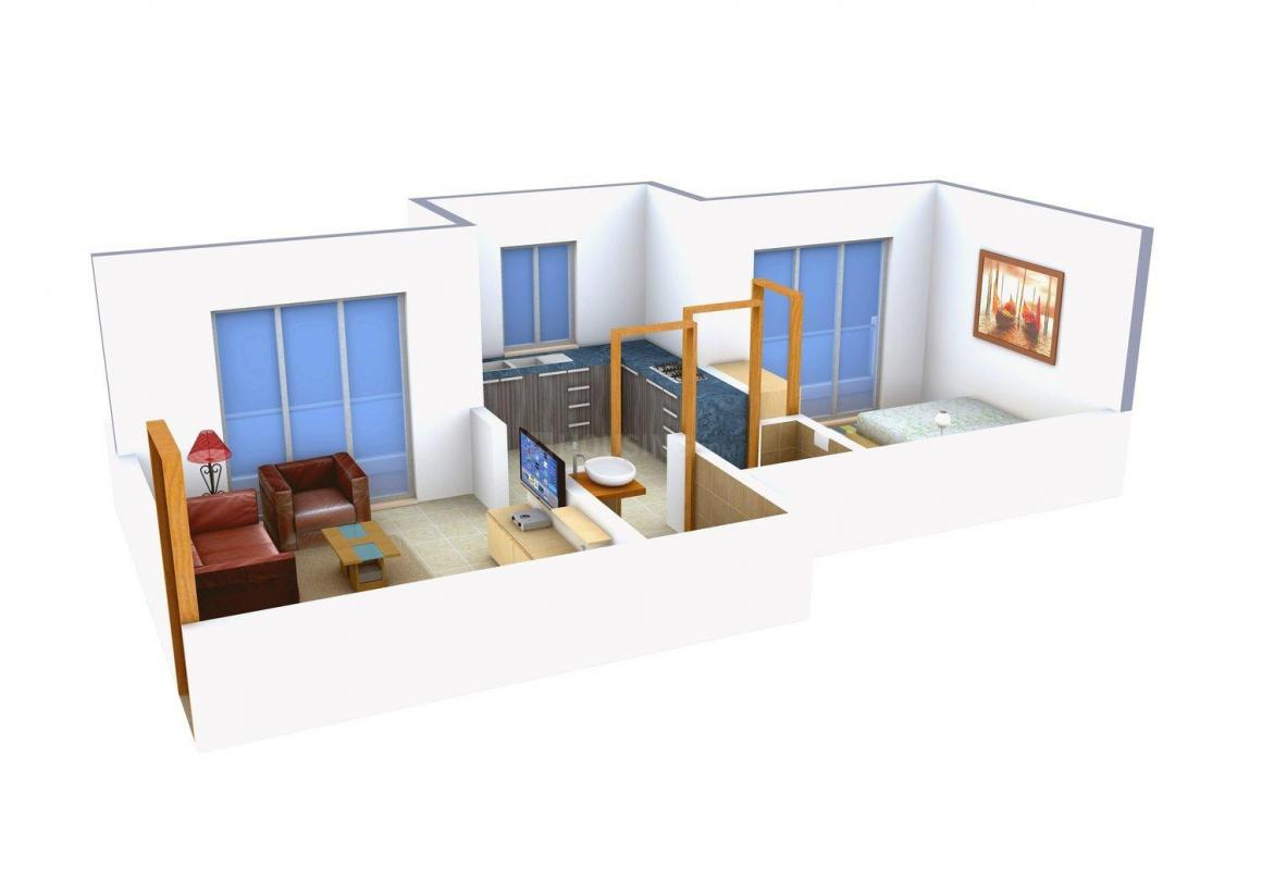 Floor Plan Image of 575 - 860 Sq.ft 1 BHK Apartment for buy in Prayag Akruti