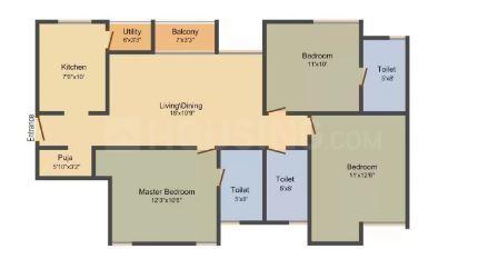 Unitech Chaitanya Floor Plan: 1 BHK Unit with Built up area of 630 sq.ft 1