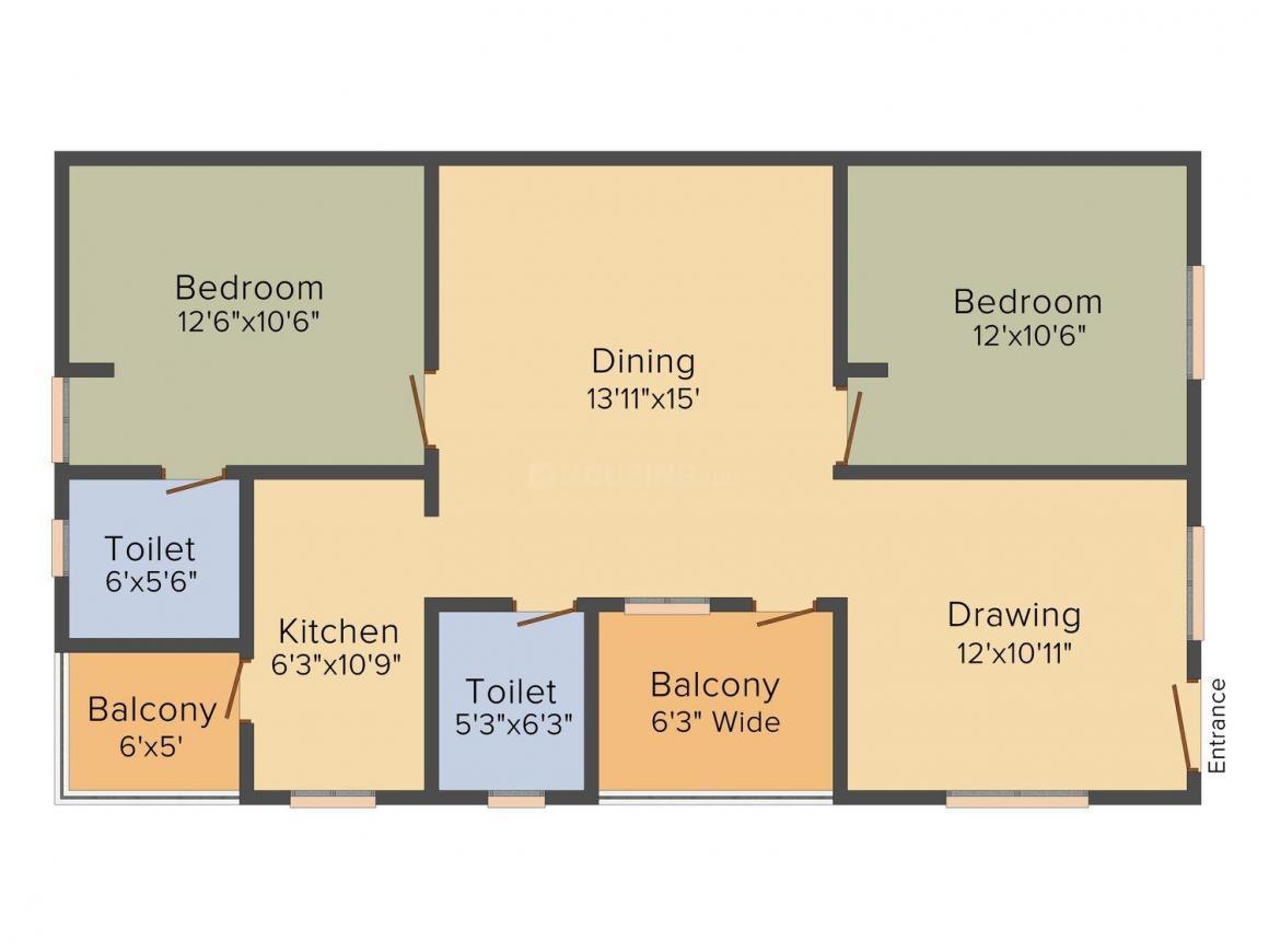 Kondaveedu Residency Floor Plan: 2 BHK Unit with Built up area of 1068 sq.ft 1