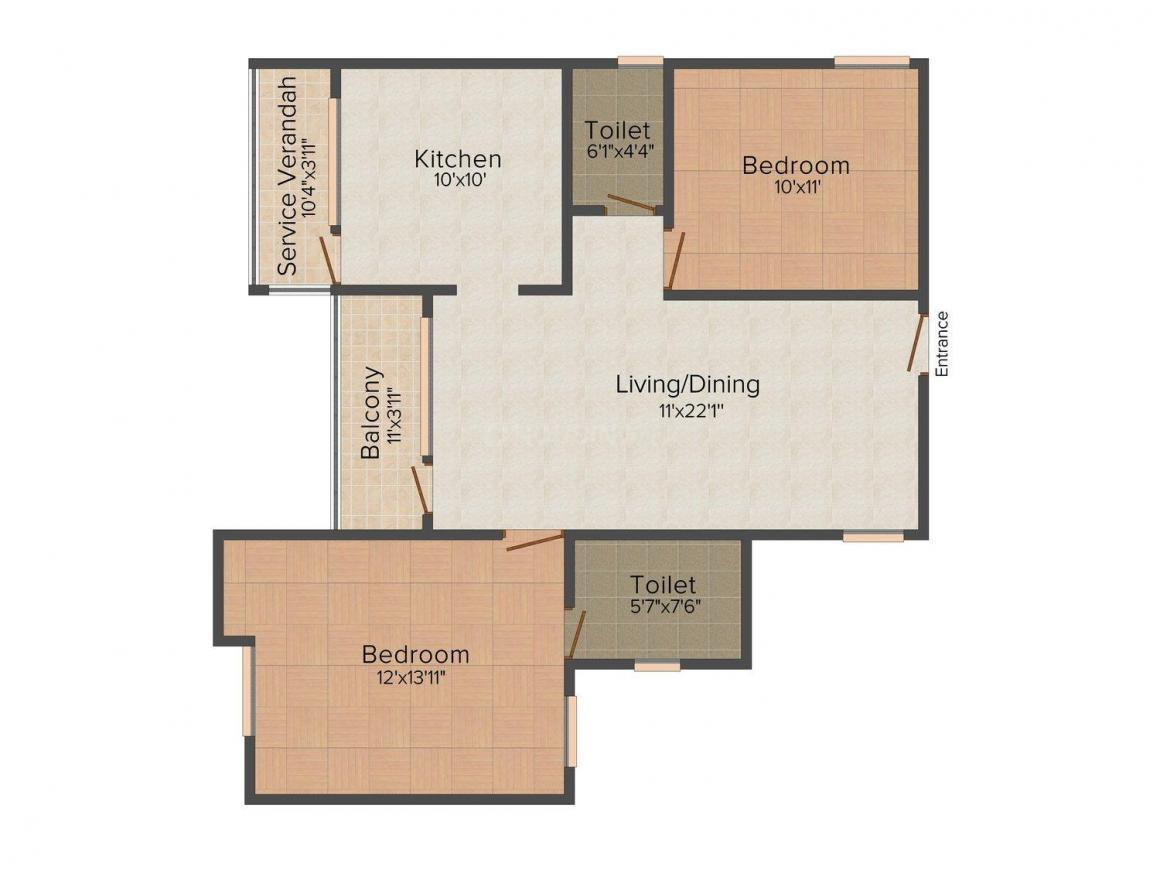 Floor Plan Image of 636 - 1220 Sq.ft 1 BHK Apartment for buy in Hallmark Sapphire