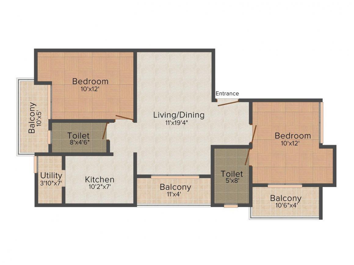 Floor Plan Image of 1100 - 1135 Sq.ft 2 BHK Apartment for buy in Rishi Oak Dale