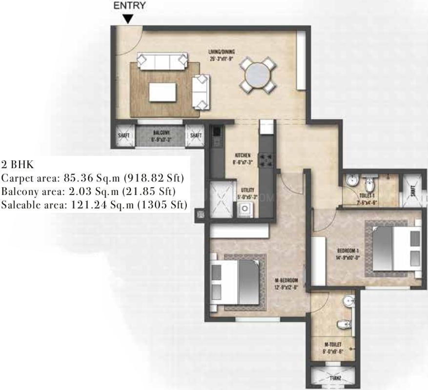 Shriram Codename Treasure Island Floor Plan: 2 BHK Unit with Built up area of 1305 sq.ft 1