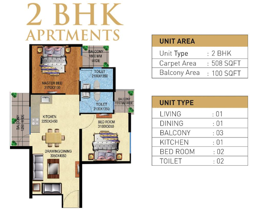 Mahira Homes Floor Plan: 2 BHK Unit with Built up area of 508 sq.ft 1