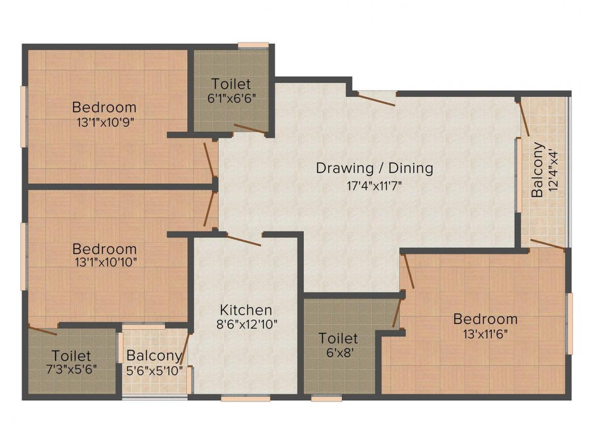 Floor Plan Image of 1240 - 1517 Sq.ft 3 BHK Apartment for buy in SSBC Shyam Paradise