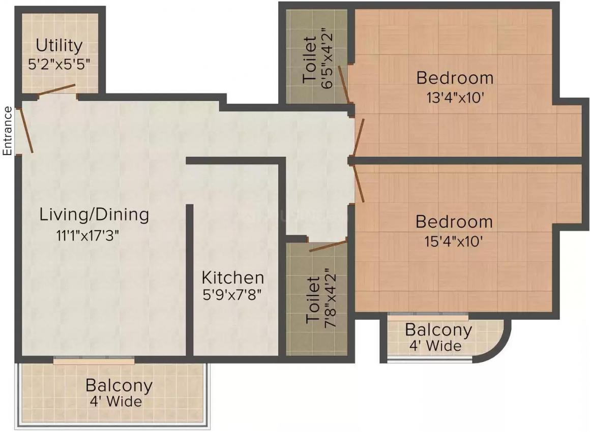 Shine Heaven Floor Plan: 2 BHK Unit with Built up area of 1079 sq.ft 1