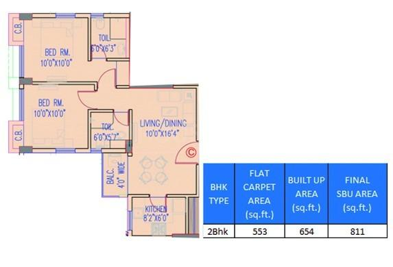 Srijan Eternia Floor Plan: 2 BHK Unit with Built up area of 811 sq.ft 1