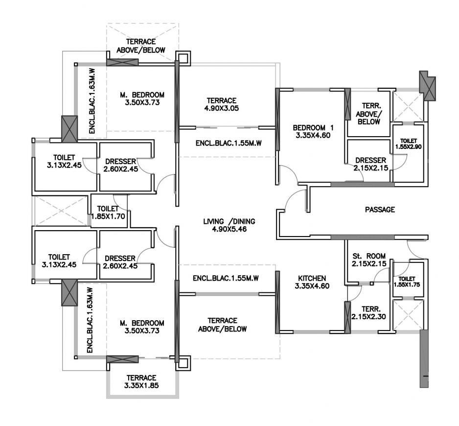 Kumar Privie Sanctum A1 And B1 Floor Plan: 3 BHK Unit with Built up area of 1614 sq.ft 1