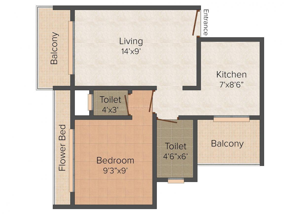 Floor Plan Image of 585 - 630 Sq.ft 1 BHK Apartment for buy in Parth Vighnaharta Residency