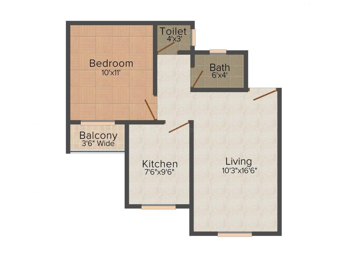 Floor Plan Image of 575.0 - 825.0 Sq.ft 1 BHK Apartment for buy in Aasha Sai Complex
