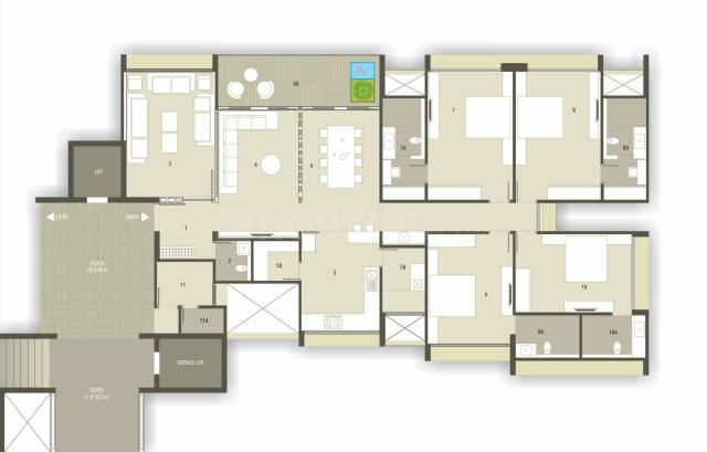 Parshwa Luxuria Floor Plan: 4 BHK Unit with Built up area of 3850 sq.ft 1