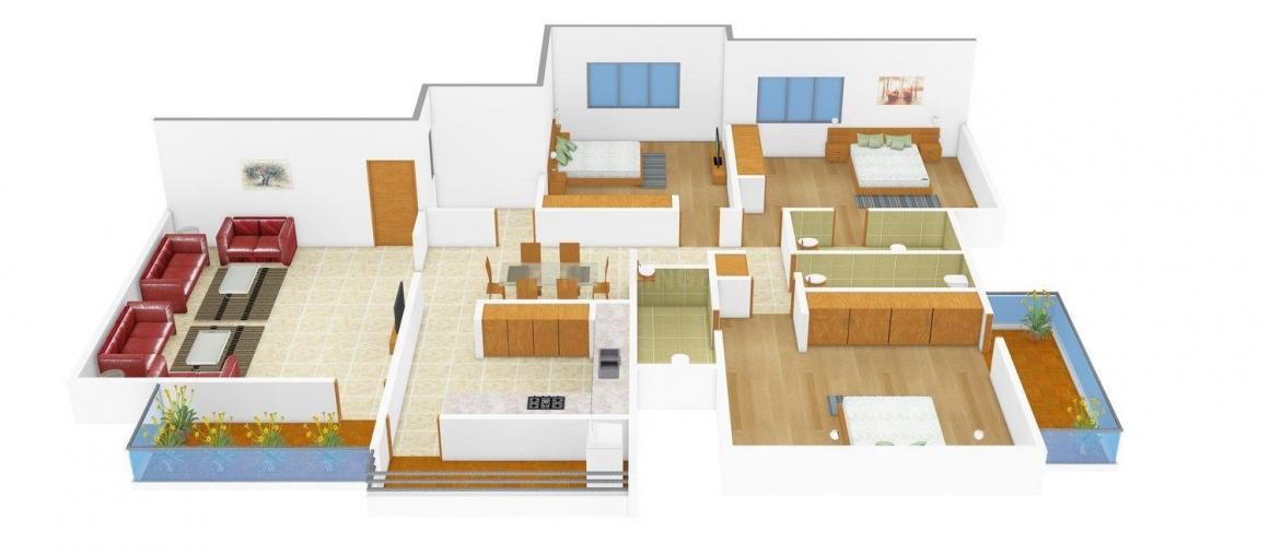 Floor Plan Image of 0 - 1600.0 Sq.ft 3 BHK Apartment for buy in RSC III