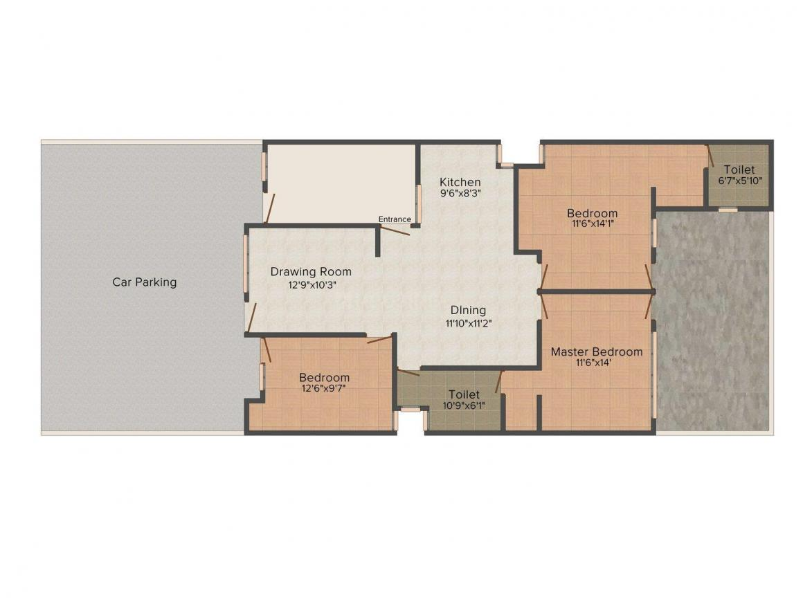 Tayal Floors 187/21 D Floor Plan: 3 BHK Unit with Built up area of 1400 sq.ft 1