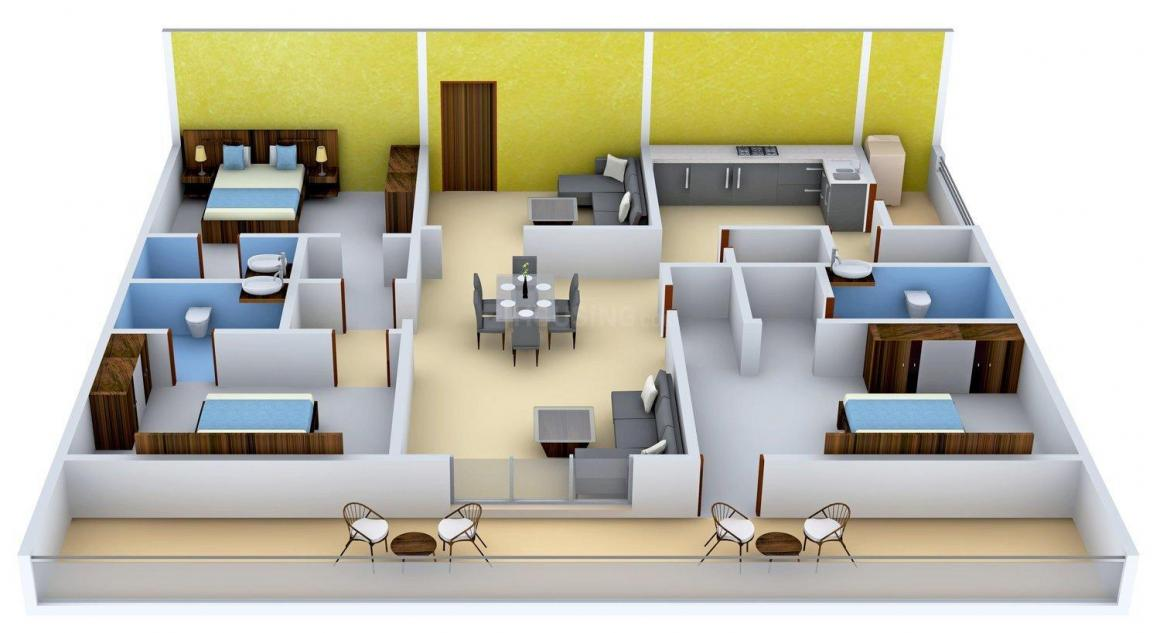 Western Exotica Floor Plan: 3 BHK Unit with Built up area of 2452 sq.ft 1