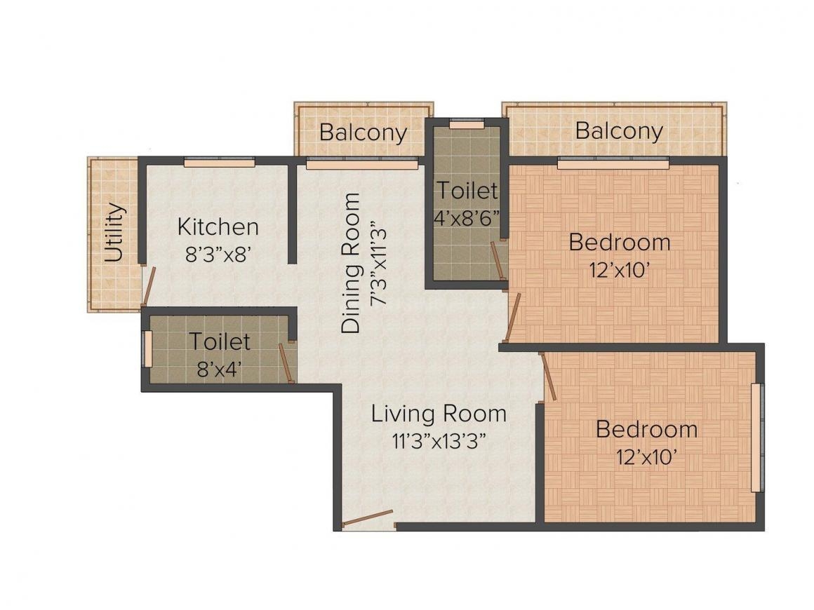Floor Plan Image of 0 - 780 Sq.ft 2 BHK Apartment for buy in Mars Sri Nagar Colony