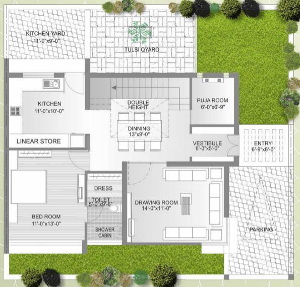 Ugati Ugati Enclave Floor Plan: 4 BHK Unit with Built up area of 2925 sq.ft 3