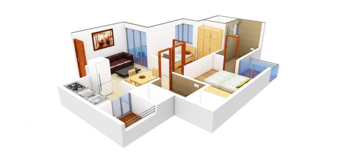 Prateek Grand City Floor Plan: 1 BHK Unit with Built up area of 770 sq.ft 1