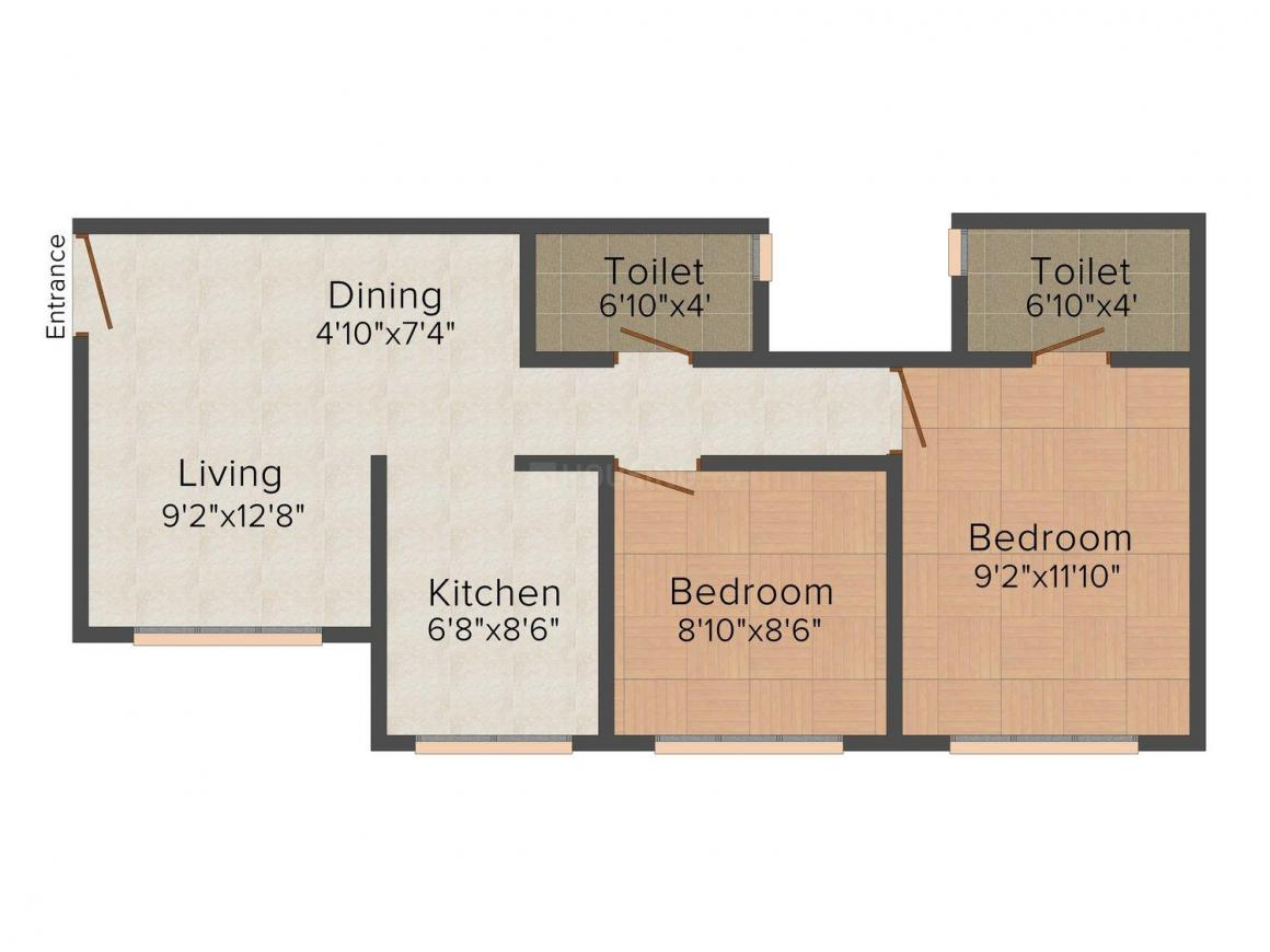 Floor Plan Image of 0 - 678.0 Sq.ft 2 BHK Apartment for buy in Poddar Evergreen Phase 4