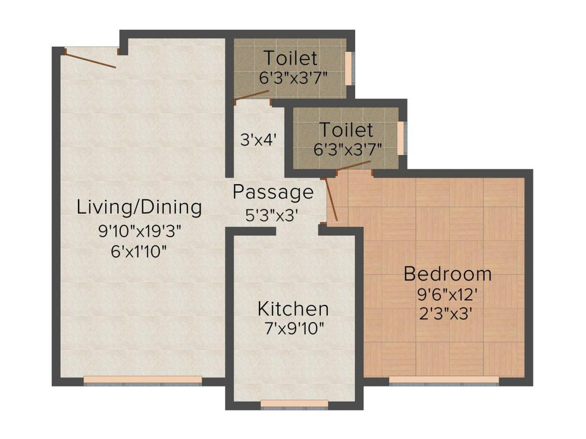 M.K. Realtors Aavaas Classic Floor Plan: 1 BHK Unit with Built up area of 381 sq.ft 1