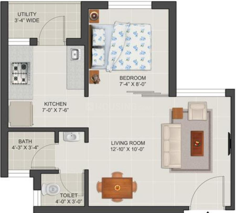 Tata Shubh Griha Floor Plan: 1 BHK Unit with Built up area of 293 sq.ft 1