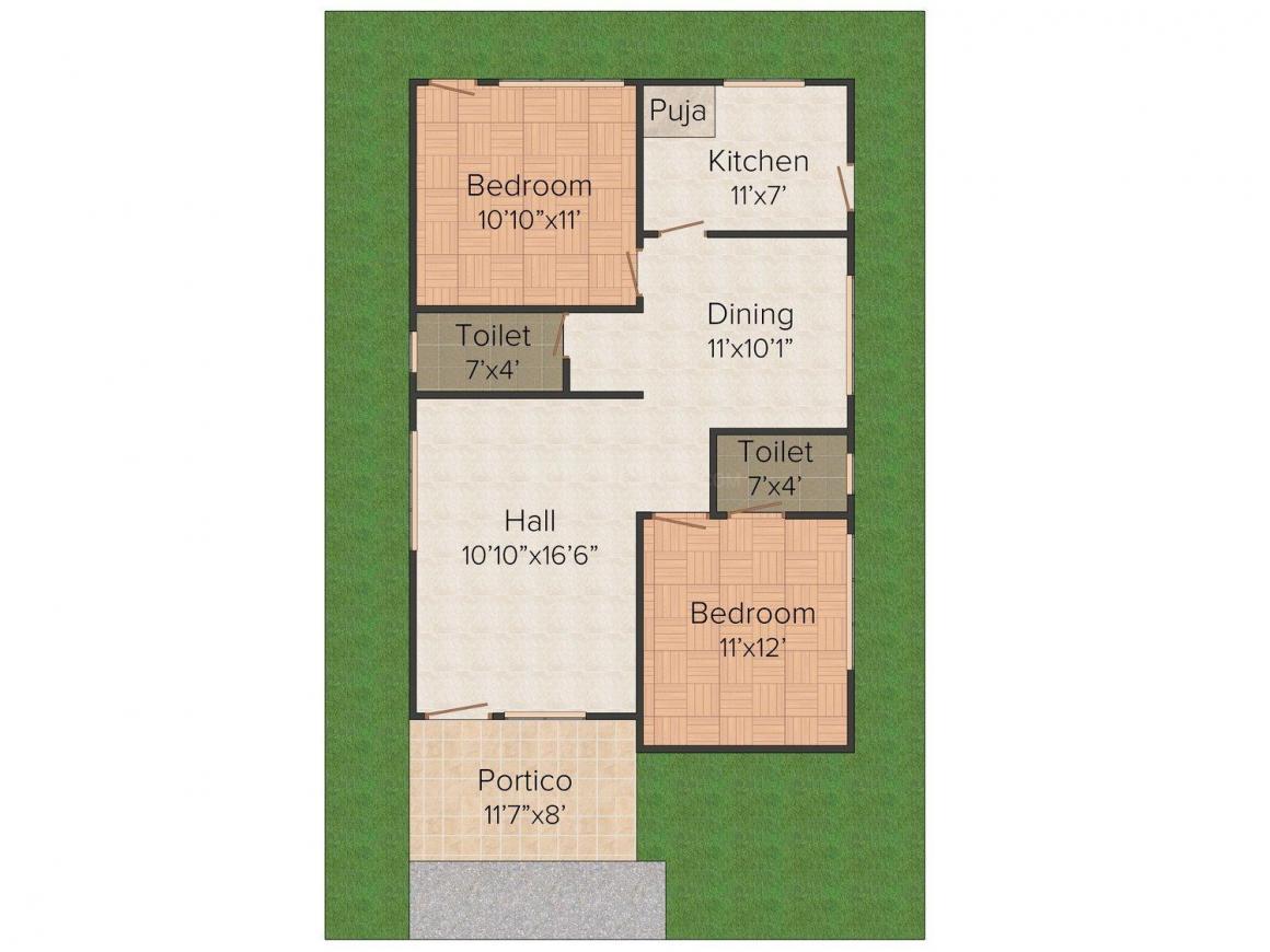 Floor Plan Image of 1010.0 - 1250.0 Sq.ft 2 BHK Apartment for buy in Vulcan Jasmine Gardens