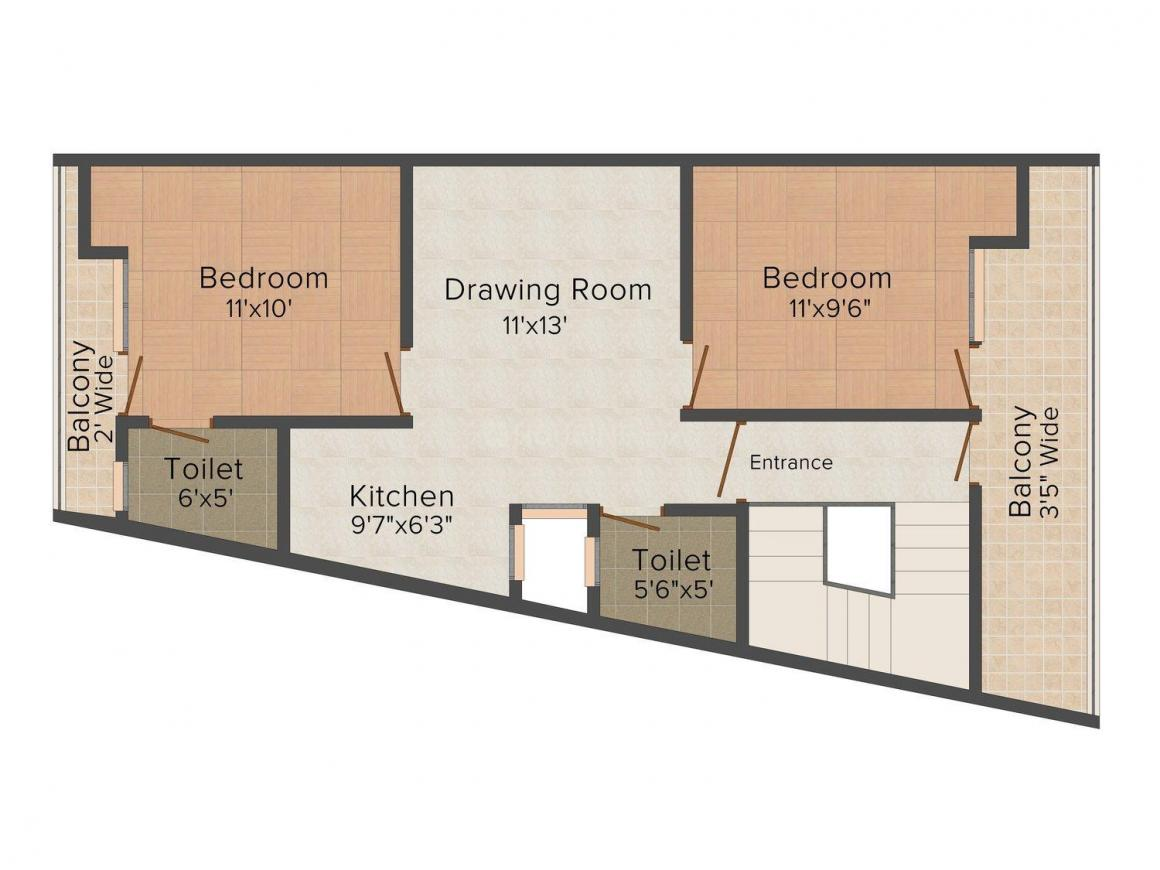 Real Bhumi Gopal Apartment Floor Plan: 2 BHK Unit with Built up area of 756 sq.ft 1
