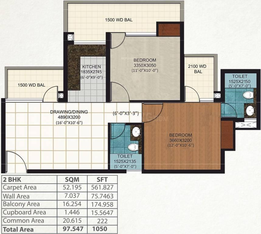 AIGIN Royal Floor Plan: 2 BHK Unit with Built up area of 1050 sq.ft 1