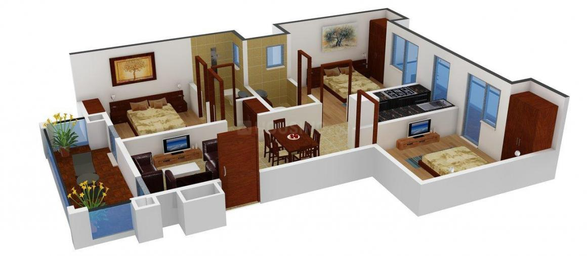 TDI Espania Royale Floors Floor Plan: 3 BHK Unit with Built up area of 1224 sq.ft 1