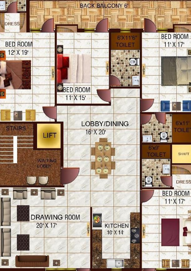 Richlook Diamond Floor Floor Plan: 4 BHK Unit with Built up area of 3150 sq.ft 1