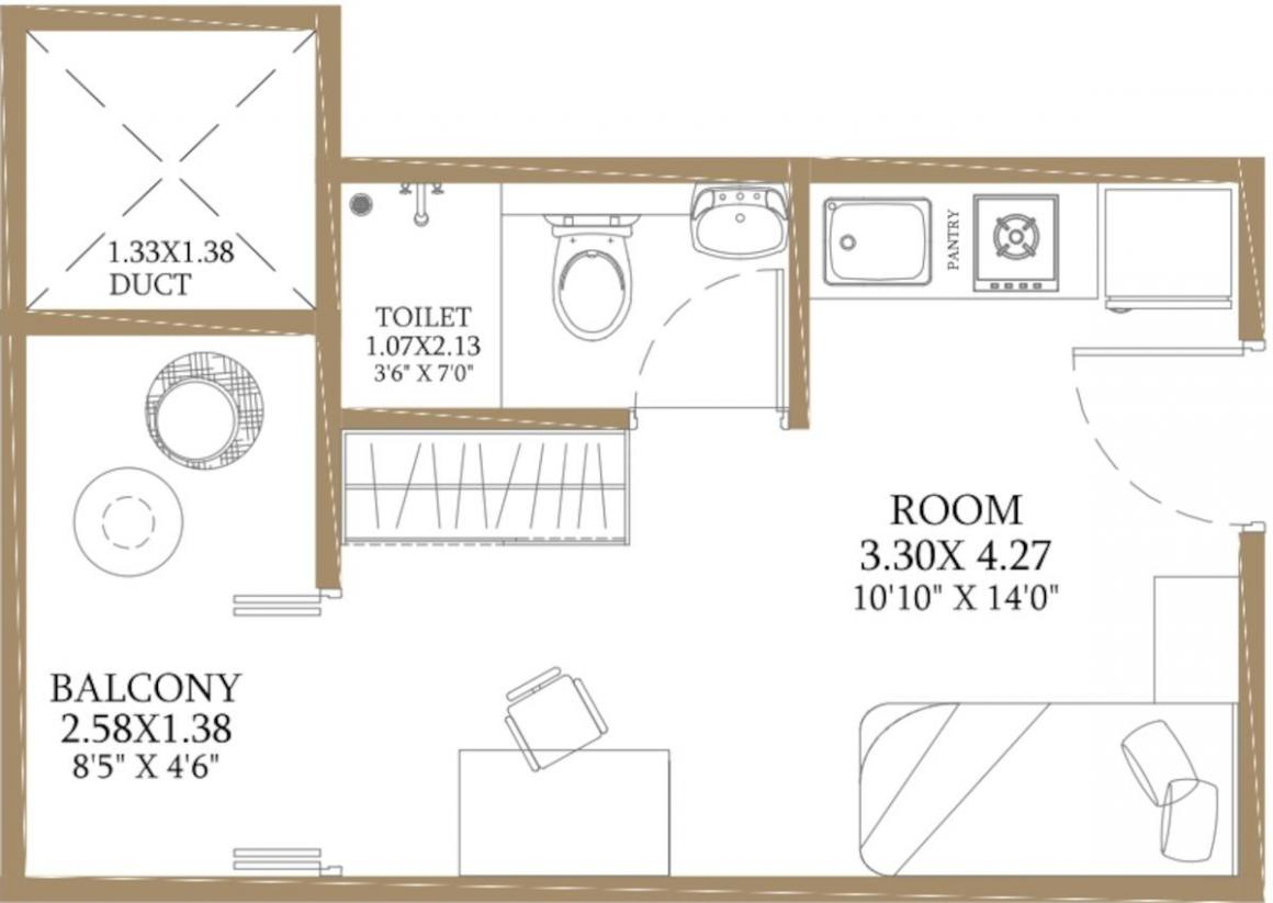Bramha Corp Smart Floor Plan: 1 BHK Unit with Built up area of 195 sq.ft 1