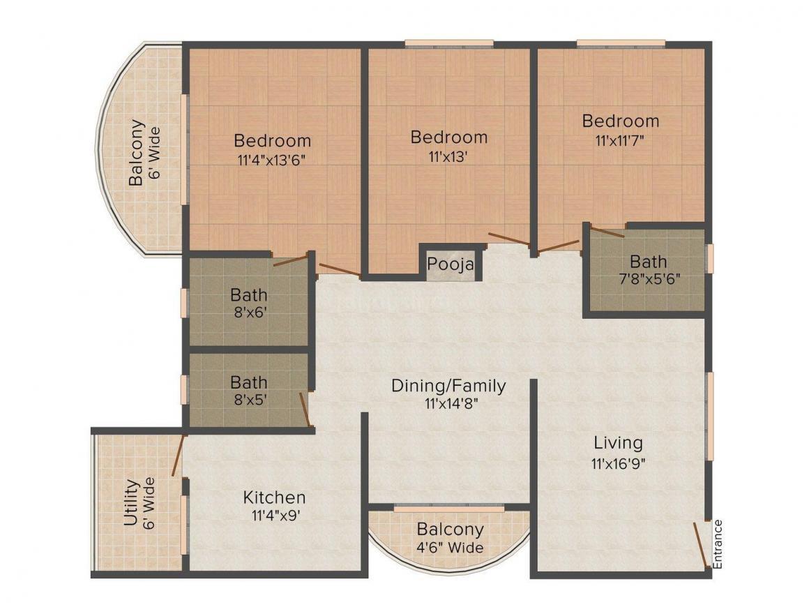 Floor Plan Image of 0 - 1800.0 Sq.ft 3 BHK Independent Floor for buy in KLG Floors 1