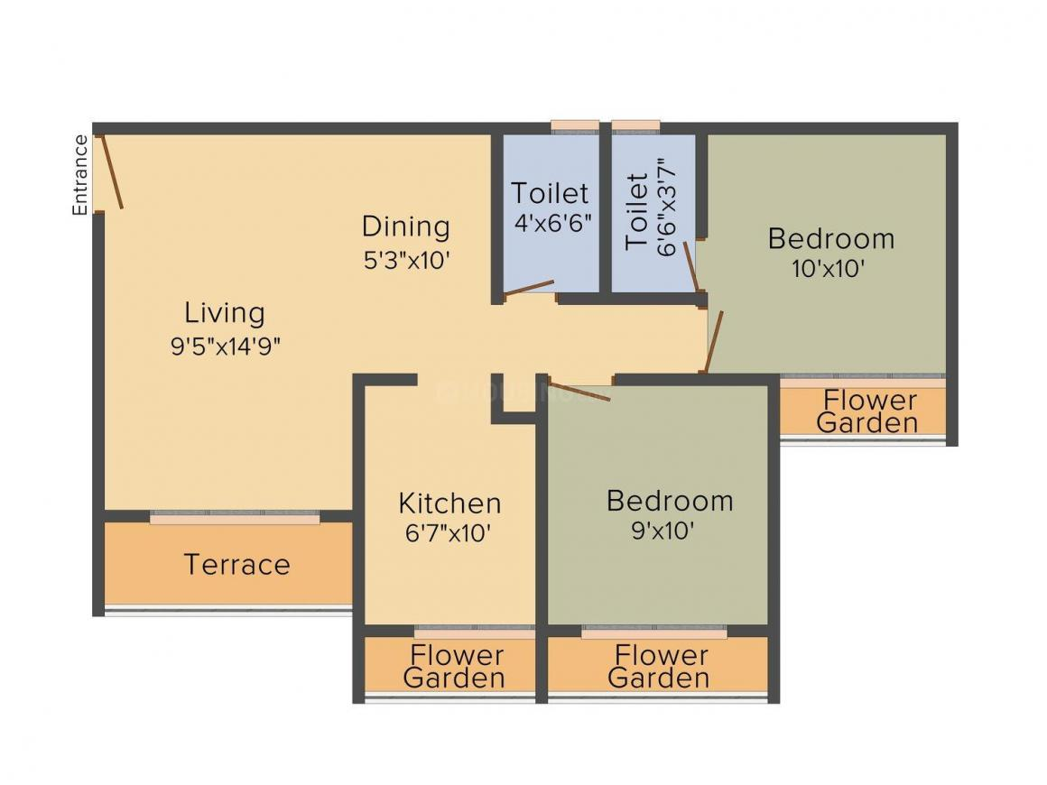 Floor Plan Image of 560.0 - 650.0 Sq.ft 1 BHK Apartment for buy in Navkar City Phase 1 & 2