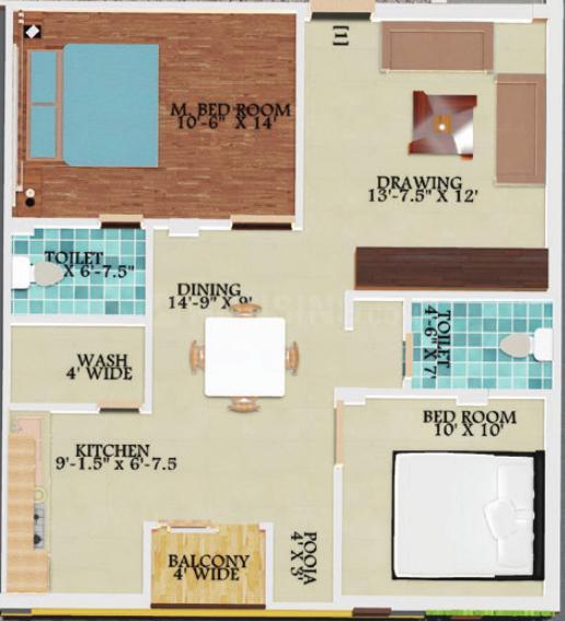 Go Green Arihant Kalayika Residency Floor Plan: 2 BHK Unit with Built up area of 1044 sq.ft 1
