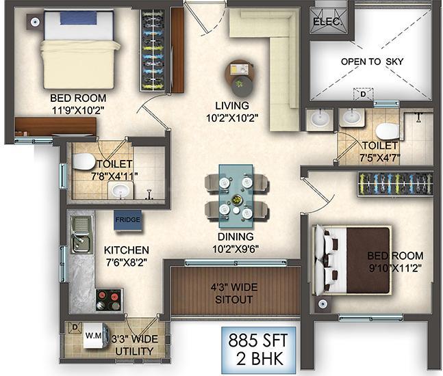 Krishnaja Northcity Floor Plan: 2 BHK Unit with Built up area of 589 sq.ft 1
