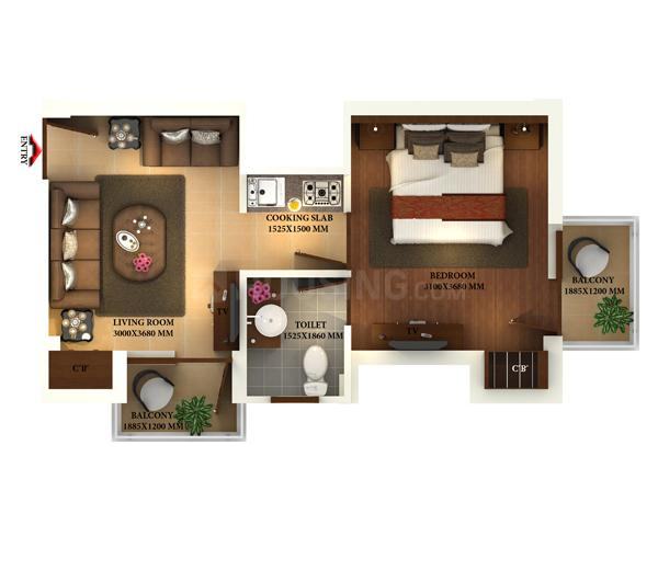 ETH Emerald Rivera Floor Plan: 1 BHK Unit with Built up area of 600 sq.ft 1