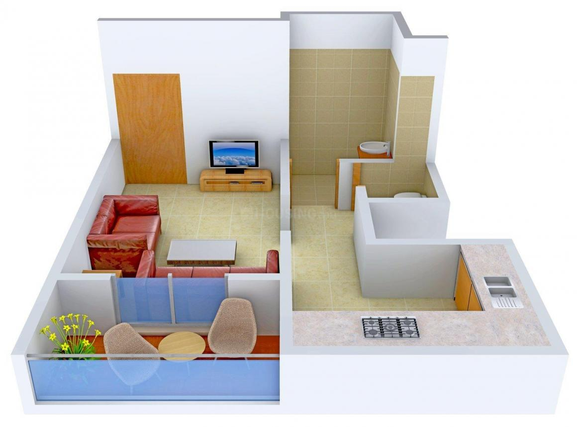 Floor Plan Image of 395.0 - 523.0 Sq.ft 1 RK Apartment for buy in Hera Apartment