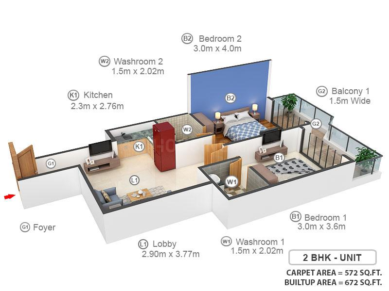 Pyramid Elite Floor Plan: 2 BHK Unit with Built up area of 572 sq.ft 1