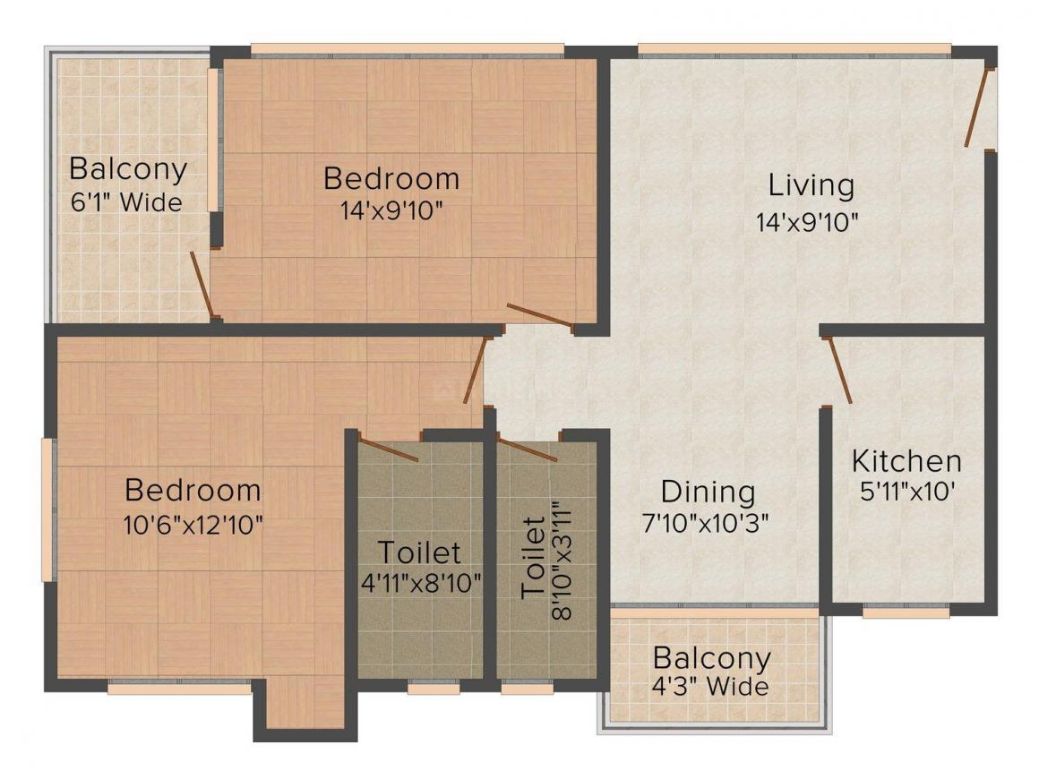 Floor Plan Image of 1124 - 2282 Sq.ft 2 BHK Apartment for buy in The Banyan Tree- Mukul Shanti Garden