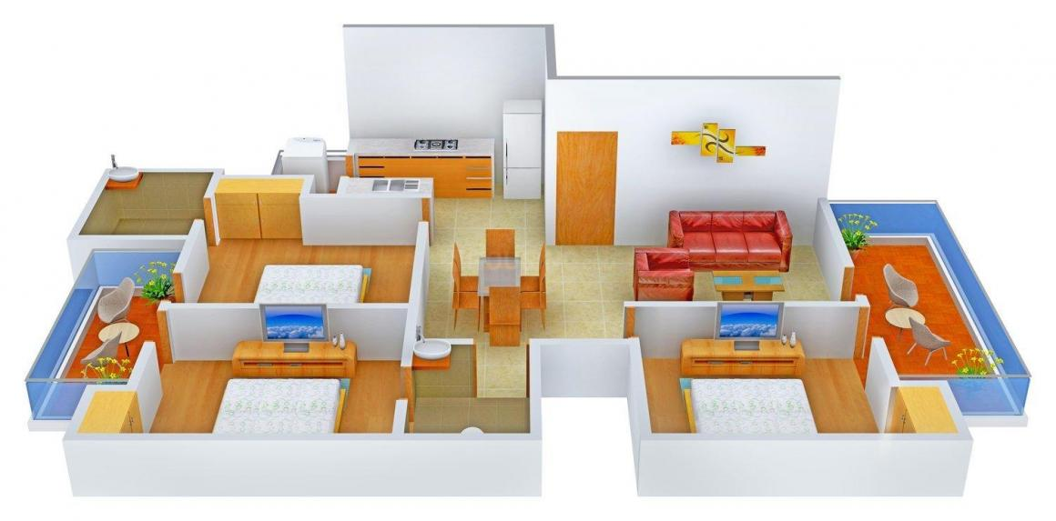 Chanana Homes - 3 Floor Plan: 3 BHK Unit with Built up area of 1600 sq.ft 1