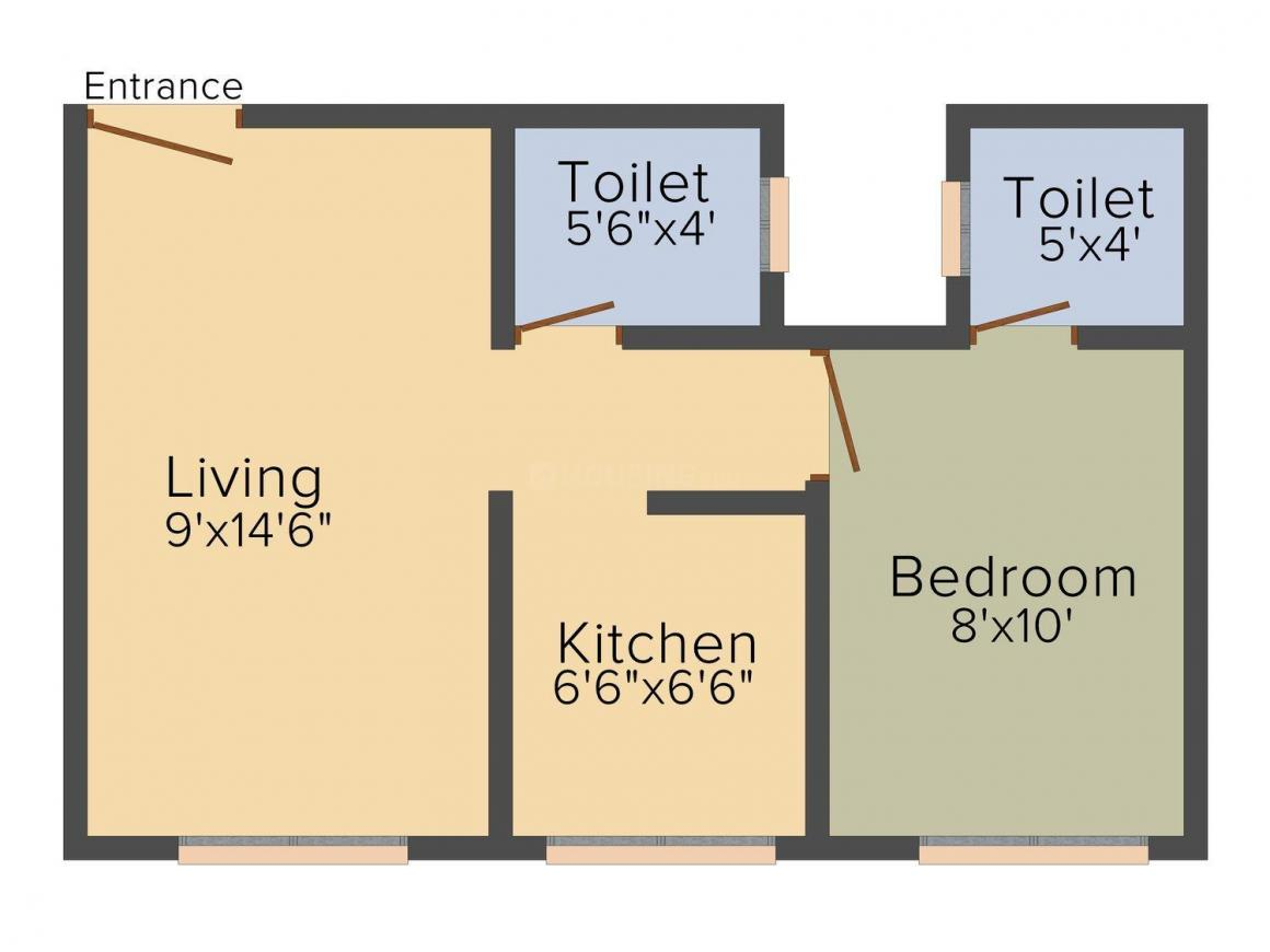 Floor Plan Image of 480 - 780 Sq.ft 1 BHK Apartment for buy in Shree Sai Vaishno Complex