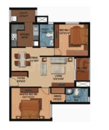 Century Breeze Floor Plan: 2 BHK Unit with Built up area of 1279 sq.ft 1