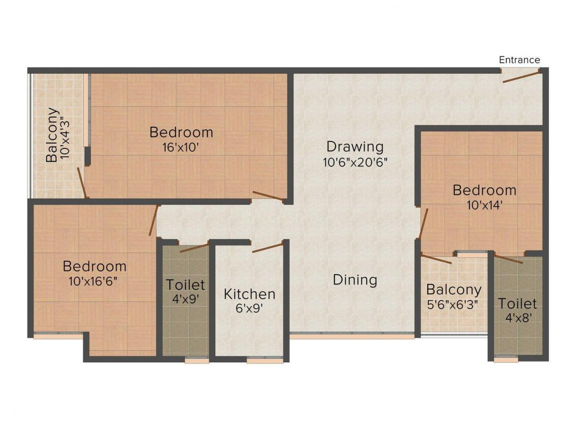 Floor Plan Image of 0 - 1220 Sq.ft 3 BHK Apartment for buy in Ashiana Residency Greens