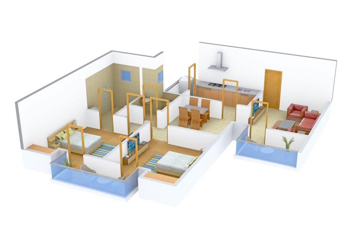 Vipul Lavanya Floor Plan: 2 BHK Unit with Built up area of 1225 sq.ft 1