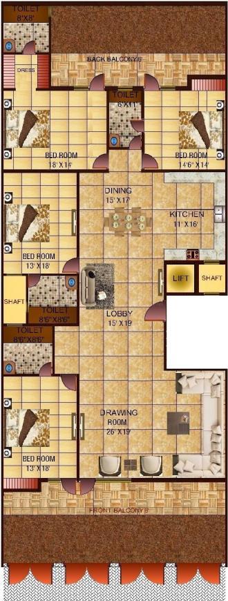 Richlook Grandeur Floor Floor Plan: 4 BHK Unit with Built up area of 4050 sq.ft 1