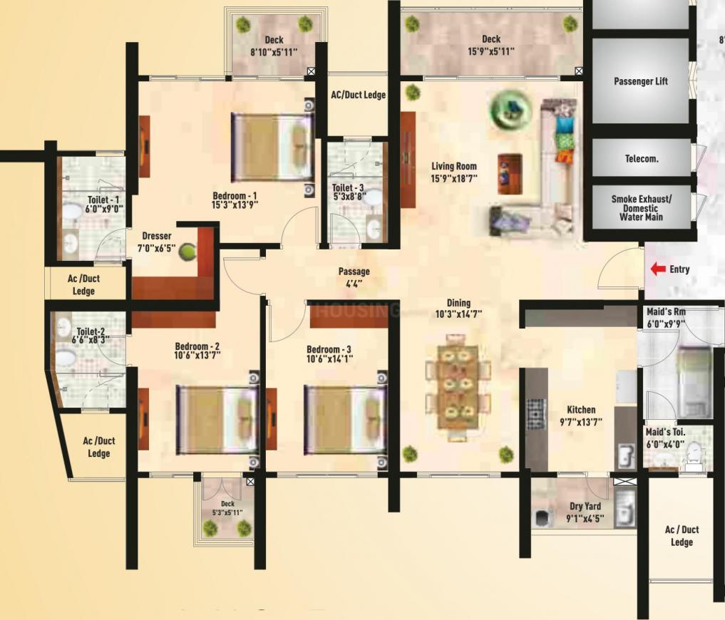 SNN Clermont Floor Plan: 3 BHK Unit with Built up area of 2526 sq.ft 1