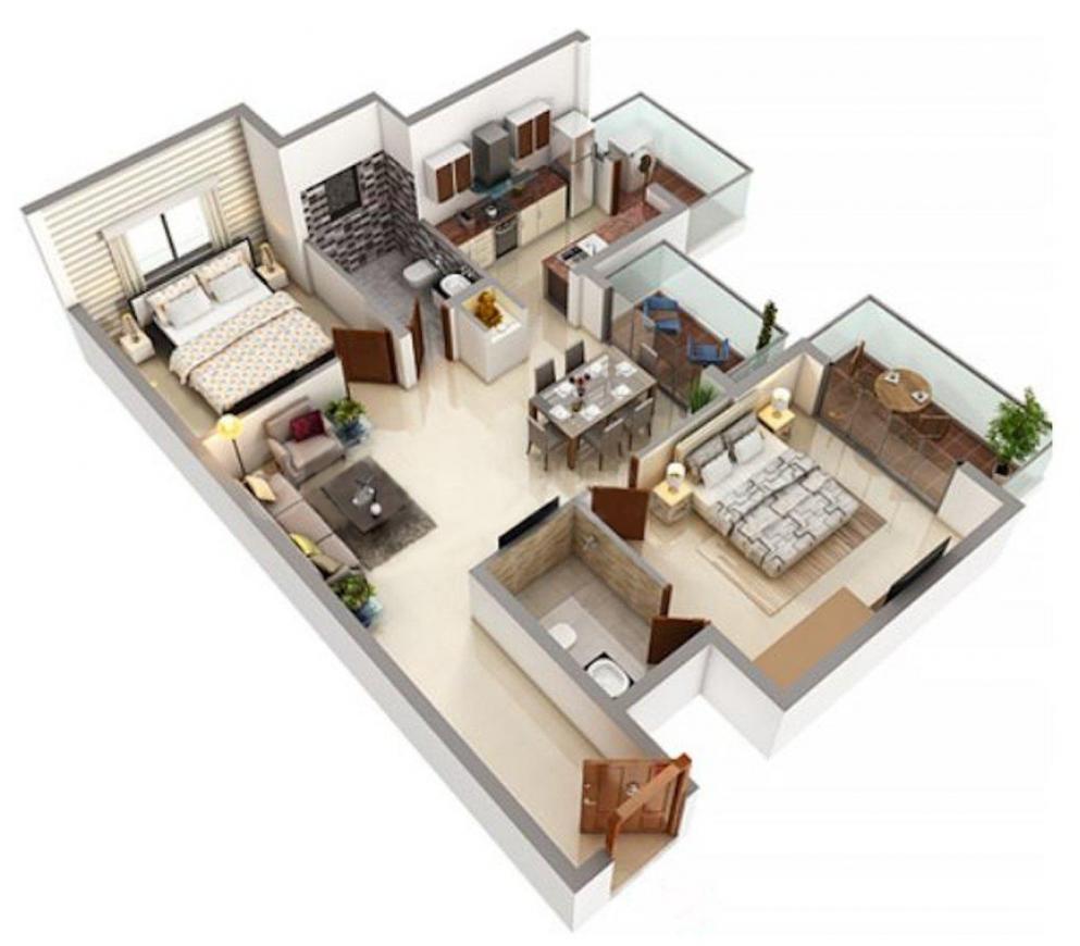 Regent Park Floor Plan: 2 BHK Unit with Built up area of 1280 sq.ft 1