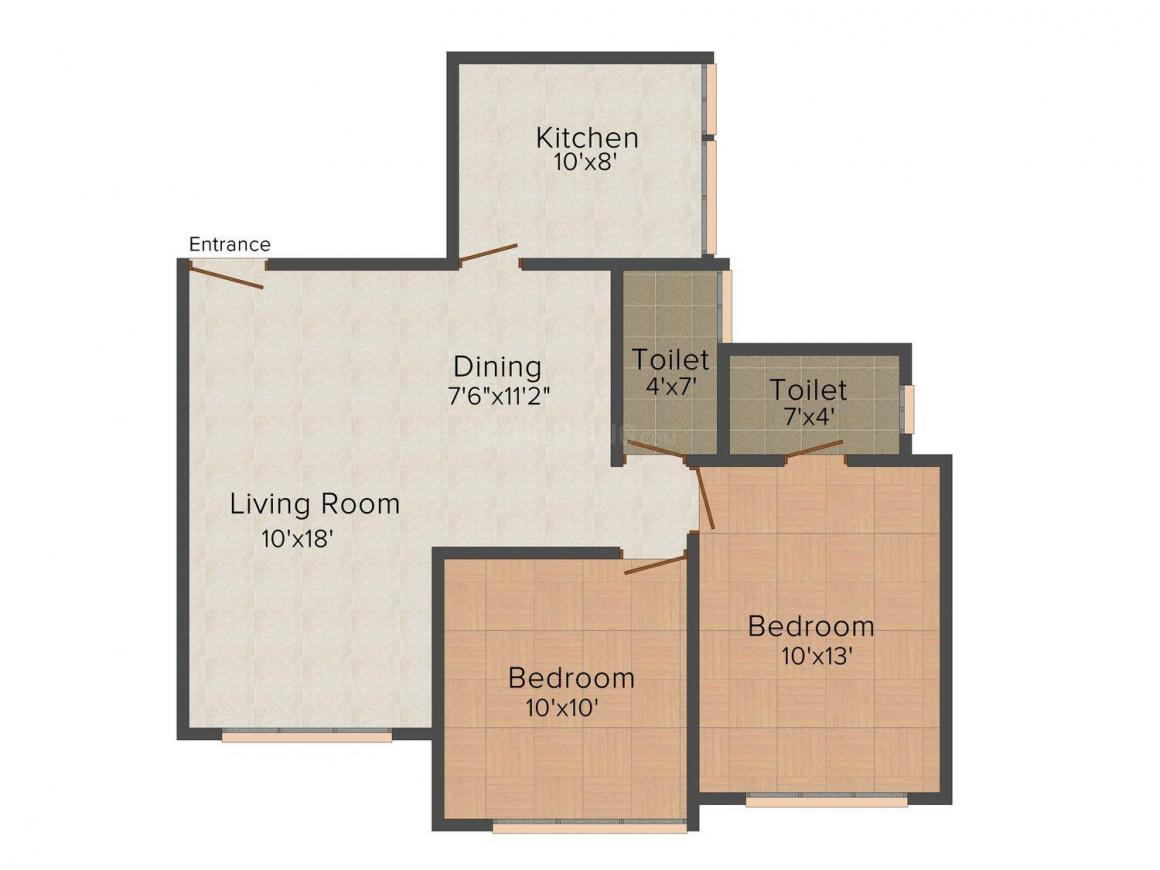 Floor Plan Image of 0 - 650.0 Sq.ft 2 BHK Apartment for buy in Mrudul Heights