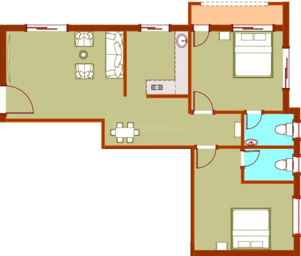 JR Corals Floor Plan: 2 BHK Unit with Built up area of 896 sq.ft 1