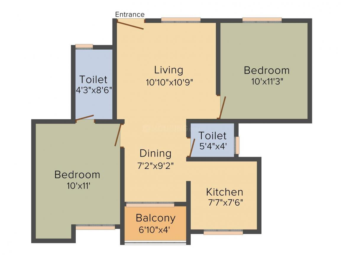 Floor Plan Image of 905.0 - 1295.0 Sq.ft 2 BHK Apartment for buy in Shree Tulip