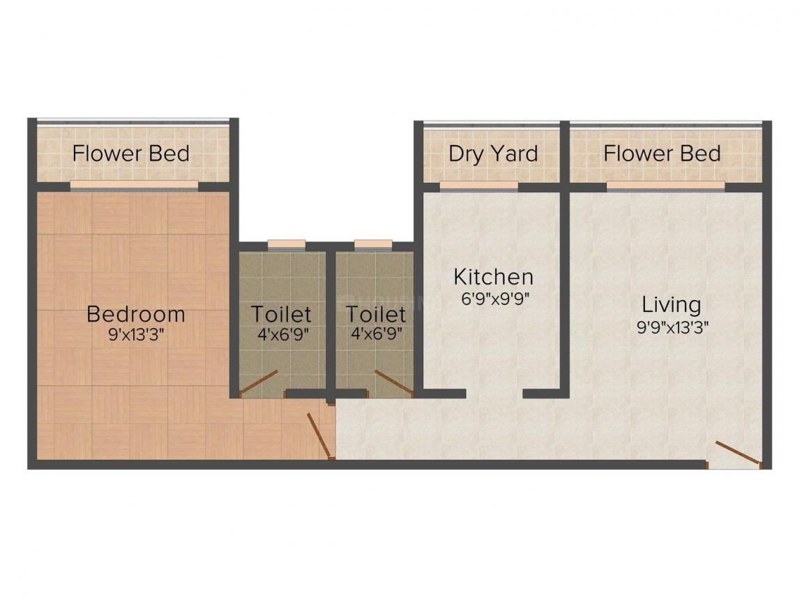 Floor Plan Image of 535.0 - 610.0 Sq.ft 1 BHK Apartment for buy in Sugandhi Siddhi Complex