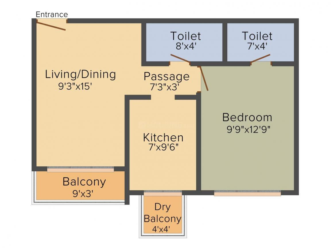 Floor Plan Image of 545.0 - 850.0 Sq.ft 1 BHK Apartment for buy in Agami Emerald